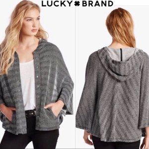 Lucky Brand Textured Hooded Poncho Sweater